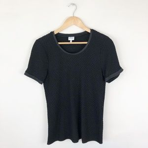 Armani Collezioni Textured Short Sleeve Blouse